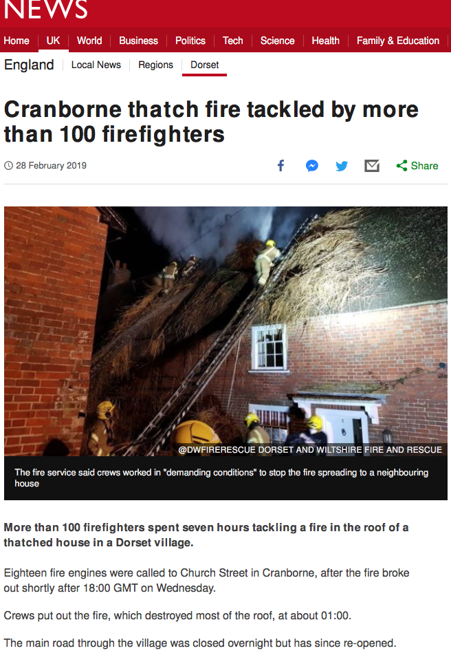 cranborne thatch fire tackled by more than 100 firefighters bbc news article