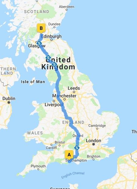 Bournemouth to Scotland Map