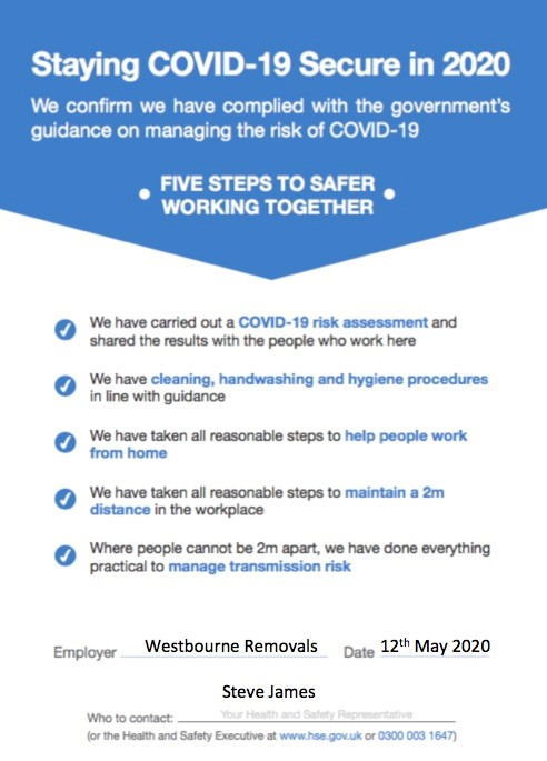 Westbourne Removals COVID-19 Secure Certificate